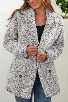 Winter Style // Get that super cozy look as you wear this light grey notched lapel double-breasted fuzzy fleece coat. Winter Style, Cold Weather, Double Breasted, Winter Fashion, Dressing, Cozy, Princess, Stylish, Womens Fashion