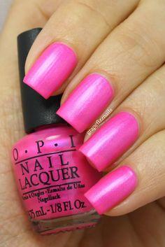 OPI - Hotter Than You Pink is a fabulous neon pink with blue shimmer. #nail #nails #nailpolish