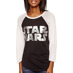 Star Wars™ Raglan-Sleeve Graphic T-Shirt ($13) ❤ liked on Polyvore featuring tops, t-shirts, graphic t shirts, graphic design t shirts, graphic tees, graphic print t shirts and 3/4 sleeve t shirt