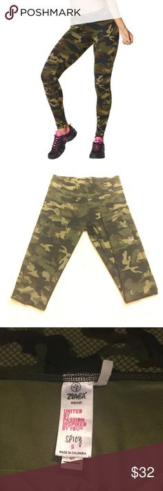Zumba Camo Leggings Super funky and soft leggings by Zumba. Worn and washed once. If you're not into Zumba but still love the leggings, no need to worry! The only Zumba sign is the small silver one in the last picture. So cute and fun to wear at the gym or around town! Zumba Pants Leggings