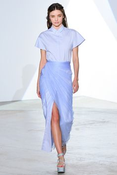 Pale Blue Chinese Cheongsam-inspired shirt dress with pale blue chiffon wrap over.