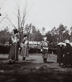Emperor Nicholas II and two of his daughters in Spala, Poland