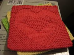"""This is the 2nd in my """"Peace, Love, & Happiness"""" washcloth series that I knit for my mother.     Needles: Size 4 Yarn: Sugar'n Creme Cotton..."""