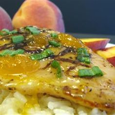 Grilled Chicken with Peach Sauce Recipe--Add Moscato Wine to make like ...