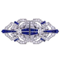 Art Deco Sapphire and Diamond Clips | From a unique collection of vintage brooches at http://www.1stdibs.com/jewelry/brooches/brooches/