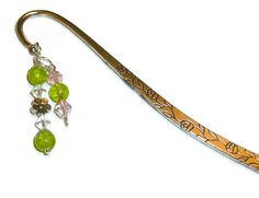 Silver Tulip Bookmark with Beads Dangles by BlissfulVine, $7.25    #etsy #shopping #gifts #students #bookmarks #silverbookmark #presents #school