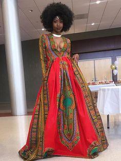 Retro Floral-Printed Long Sleeve Deep V-neck Floor Hem Maxi Dress