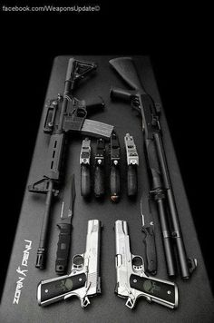 Rifle, shotgun, 6 pistols and 2 knives. Why not just carry more ammo or learn to use what you have? Zombie Weapons, Weapons Guns, Guns And Ammo, Zombie Apocalypse Survival Weapons, Zombie Survival Weapons, Zombies Survival, Wallpaper Arma, Rifles, Airsoft