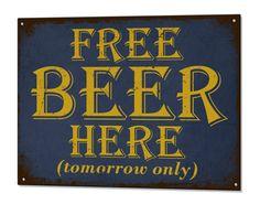 Free Beer Tomorrow Funny Metal Sign Bar Tin Plaque Retro Decor