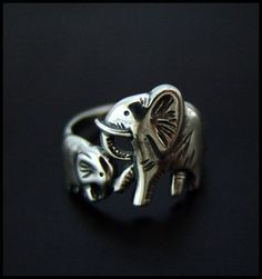Baby & Mama Elephant Ring...  The elephants are a symbols of strength, wisdom and good luck!