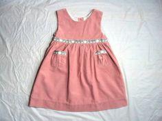 GIRL'S RACHEL RILEY EURO BOUTIQUE PINK TEA PINAFORE CORDUROY JUMPER DRESS 3 / 3T