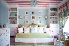 Stripes on the ceiling for a Toddler or baby girl bedroom??  Pretty cute!!!