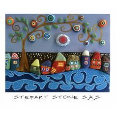 Colorful Wall art Rustic Wall art pebble art by StefArtStone Stone Crafts, Rock Crafts, Arts And Crafts, 3d Wall Art, Colorful Wall Art, Pebble Painting, Stone Painting, Painted Rocks, Hand Painted