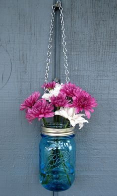 Love these blue mason jars!  Would look great hanging from the ceremony shepherd's hooks at Tapestry House!