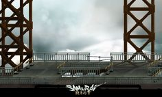 Samurai Riot by Wako Factory | Imperial City of Bridge Town | www.wakofactory.com | www.facebook.com/wakofactory/ | Samurai Riot is a cooperative Beat'em Up which proposes to follow the adventure of a small group of samurais in the midst of a civil war between tradition and modernism. #background #design #game #art #gameart #illustration #concept #2D #japan #scifi #painting