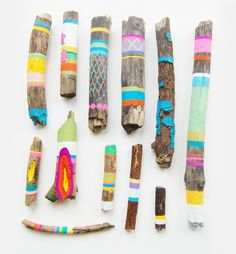 painted drift wood. Fun to do at the lake or even in out camping. Great to entertain kids