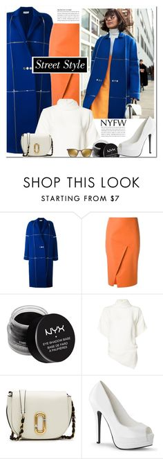 """Best NYFW Street Style Trend"" by pankh ❤ liked on Polyvore featuring Courrèges, Andrea Marques, NYX, Monse, Marc Jacobs, Oliver Peoples, NYFW, Winter and colorblock"