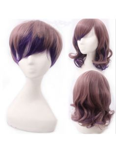 Brown Purple Couples Lolita Short Wig