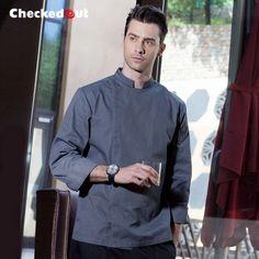 2016 new design fashion invisible button long sleeve chef work wear uniform Denim Fashion, Fashion Black, Corporate Uniforms, Chef Work, Denim Fabric, Front Design, Simple Style, Chef Jackets, Shirt Designs