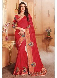 Red Georgette Silk Saree