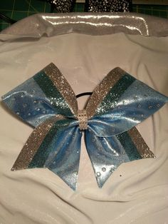 LIGHT BLUE RHINESTONE Cheer Bow by GlamourBowsByAnna on Etsy