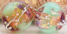 Handmade lampwork glass bead pair made to order by KittyLampwork, $16.00
