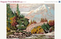 Paint by Number Land Scape, Mountains, Maroon Bells, Pine Trees, Trickling Brook, Rocks    Note: this piece is in excellent condition.