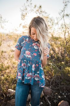 Blue Lace-up Back Floral Ruffle Top More Color: Mustard/Gray/Yellow/Pink