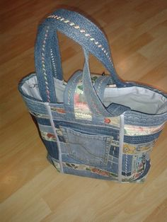 Jeans Patchwork bag by Staubbach Creations Switzerland -all recycled material. Patchwork Jeans, Recycled Materials, Switzerland, Recycling, Wedges, Crafty, Bags, Beautiful, Shoes