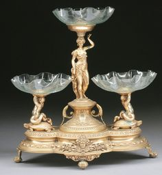 French gilt bronze figural centerpiece, 1880s.