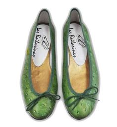 Green ostrich skin ballerinas by Las Bailarinas Shoes