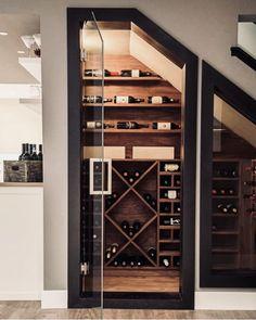 Basement wine cellar ideas wine cellar contemporary with wine room wood flooring glass door Under Stairs Wine Cellar, Wine Cellar Basement, Stair Storage, Wine Storage, Storage Ideas, Creative Storage, Closet Storage, Hidden Storage, Basement Renovations