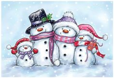 Snowmen Clear Stamp from Wild Rose Studio