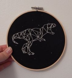 He cant see us if we dont move. This rad Tyrannosaurus constellation design is beautifully designed by S. Bluestone, find this Learn Embroidery, Hand Embroidery Stitches, Silk Ribbon Embroidery, Hand Embroidery Designs, Embroidery Techniques, Embroidery Art, Cross Stitch Embroidery, Cross Stitch Patterns, Machine Embroidery