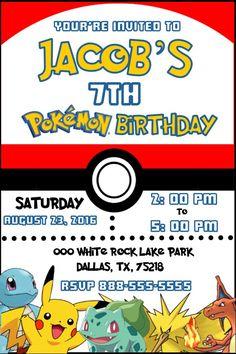 Pokemon Pokeball Birthday Invitation- Invitacion de Cumpleaños Pokeball