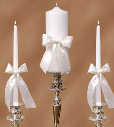 Unity Candle: Ribbon and Pearls.