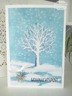stampin Christmas x-mas winter sheltering tree snow tin of tags weihnachten Schnee Baum der Freundschaft drauf und dran