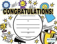Free congratulations certificates for kids kid pointz Kid Pointz Free Printable Certificate Templates, Certificate Of Achievement Template, Certificate Design Template, Award Certificates, Back To School Worksheets, Reading Worksheets, Kids Awards, Preschool Graduation, Kids Songs