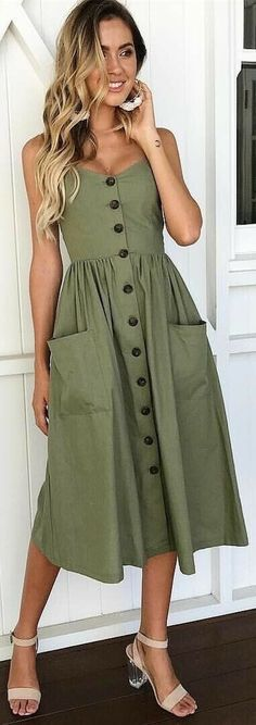 daily dress me Olive Button Down Fit-and-flare Daily Dresses Trendy Dresses, Casual Dresses, Casual Outfits, Fashion Dresses, Summer Dresses, Dresses Dresses, Casual Shoes, Casual Hair, Kaki Outfits