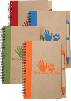 7 x 5.5-inch Recycled Eco Notebook with Color Pen and Logo (Quantity of 100 at $2.60 each plus $50 setup fee ... FREE shipping) | Branders