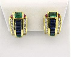 18k Gold Diamond Ruby Sapphire Emerald Earrings
