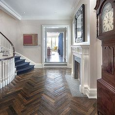 Antique French Oak herringbone pattern in New York townhouse. #home #antique…