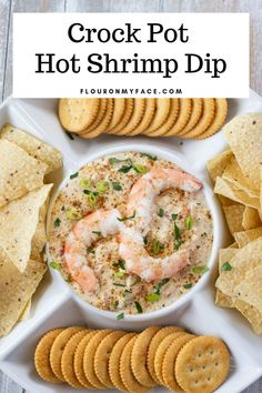 Entertaining is so easy when you serve a hot dip recipe like this Crock Pot Hot Shrimp Dip. Hot Dips are very easy to make in a crock pot and the crock pot can be used to keep the dip warm and serve the dip at the same time. Hot Appetizers, Easy Appetizer Recipes, Appetizer Dips, Dip Recipes, Real Food Recipes, Yummy Recipes, Yummy Food, Crock Pot Shrimp, Crock Pot Dips