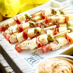 """82 Likes, 3 Comments - Nanna Tuomisto 💁✨ (@decorbynanna) on Instagram: """"Snack skewers to balance up the salt level 😛 Teriyaki chicken, olives, Brie etc. The good thing is…"""""""