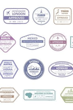 Vintage passport stamp. Airport cachet mark, passport visa (961222) | Elements | Design Bundles