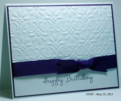 handmade birthday card from Seongsook's Creations... My Therapy, Your Cards!  black/deep purple and white ... clean and simple ... beautiful embossing folder texture covers 2/3 of the card ... elegant look ... great card!