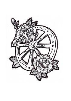 Amazing Tattoos, Cool Tattoos, Wheel Tattoo, Finger Tats, Tattoo Inspiration, Architecture Art, Tatoos, Tatting, Drawings