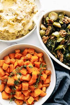 All the Thanksgiving sides you need - made easy in one hour! Roasted garlic mashed potatoes, herbed squash, and maple mustard brussels sprouts. Perfect for a small gathering! #thanksgiving #sides #sheetpan Roasted Garlic Mashed Potatoes, Thanksgiving Sides, Vegan Thanksgiving, Sheet Pan, Sprouts, Make It Simple, Mustard, Side Recipes, Real Food Recipes