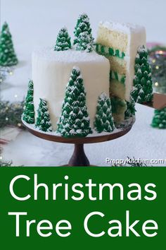 This moist, fluffy, and delicious Christmas tree cake from Preppy Kitchen has vanilla layers enrobed in creamy, vanilla buttercream, covered with beautiful Christmas trees that turn this cake into a dreamy winter wonderland. #holidaycake #christmastreecake #bestcakes #cakerecipes
