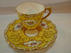 Coalport Demi CUP AND Saucer Yellow H P Floral Embossed Rims C1891 20 Gold |